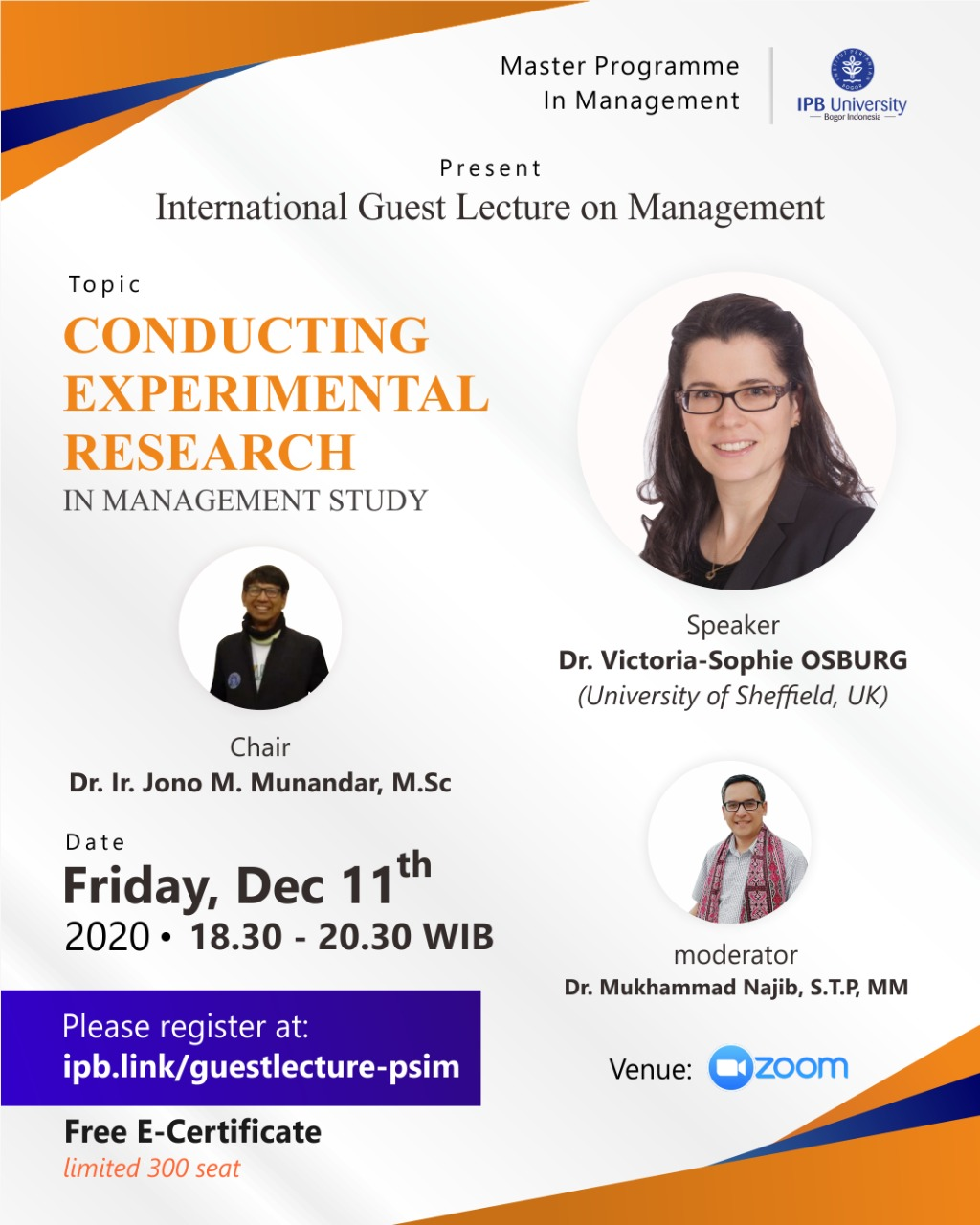 International Guest Lecture on Management CONDUCTING EXPERIMENTAL RESEARCH IN MANAGEMENT STUDY